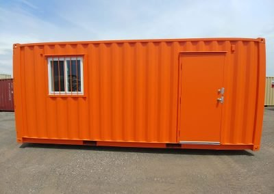 Painted jobsite container with security features.