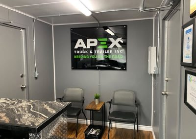 Reception area inside a jobsite container